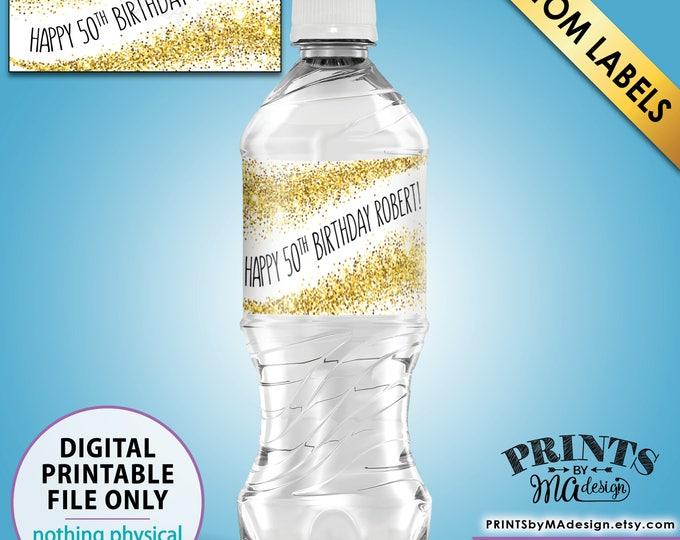 "Birthday Water Bottle Labels, Custom Birthday Party Labels, Gold Glitter Birthday, 5 Labels per 8.5x11"" Sheet, PRINTABLE Water Bottle Labels"