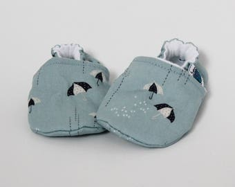 Baby crib shoes, Slippers, Umbrella, Rain, Blue, Black, White, Dots, Water drops, Custom, Flannel, Cotton, Soft soles Moccassins, Toddler
