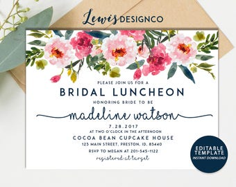 Bridal Luncheon Invitation, Floral Bridal Shower Invite, Wedding Luncheon, Editable Template, Pink Floral Invitation, Bridal Brunch, Bubbly