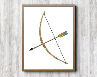 Instant Download - Tribal Bow & Arrow Boys Room / Nursery Print - Southwestern Wall Art - Native American - Bright / Colorful Poster