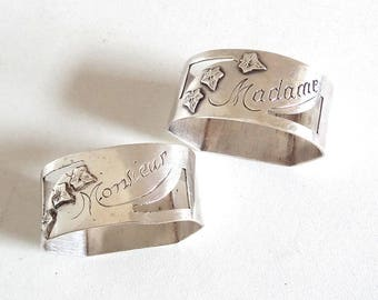 Vintage French Silver-Plated Mr & Mrs Napkin Rings - Antique Romantic Wedding Gift