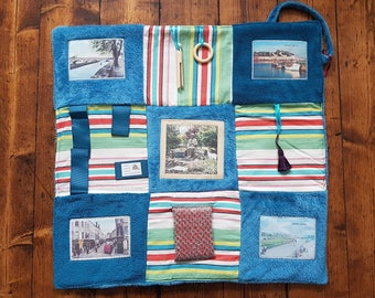 Memory and Fidget Blanket ~ Remembering Galway, Ireland ~ Sensory Activity Lap Quilt for Dementia, Alzheimer's, Stroke and Brain Trauma ~