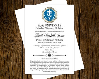 Ross University DVM Graduation Announcements Set of 12 Personalized Custom Printed Class of 2018
