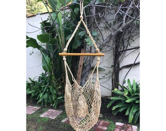 Hanging Woven Chair -- Hanging Chair -- Bohemian Hanging Chair -- Hanging Hammock Chair -- Vintage Hanging Chair -- Hanging Rope Chair