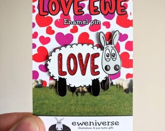 Love ewe! Sheep enamel pin badge, Knitters gift, Lapel pin, Funny badge, cute badge, Knitting, Yarn, Sheep gift, Cute pin, Love gift