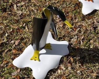 PVC Penguin on Ice Yard Art Pipe Bird Yellow Feet