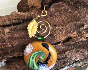 Polymer Clay Necklace, Gold Leaf Blooming