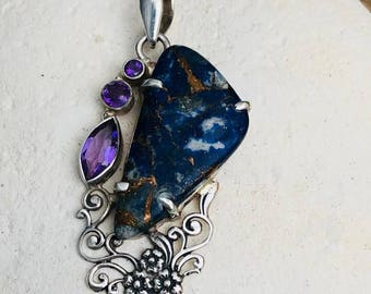 Afghani Copper Lapis & Amethyst 925 Sterling Silver Pendant