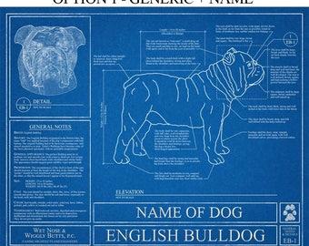 Personalized English Bulldog Blueprint / English Bulldog Art / English Bulldog Wall Art / English Bulldog Gift / English Bulldog Print