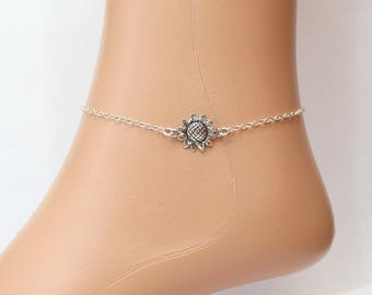 Sunflower Bracelet, Sunflower Anklet, Sterling Silver Bracelet, Bridesmaid gift idea, Bridal jewelry, Wedding Gift, Ankle Bracelet, Gift