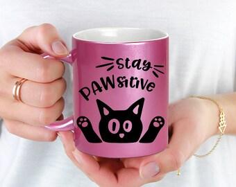 Pink Coffee Mug Stay Pawsitive Cat Mug - Microwave Dishwasher Safe Pink Coffee Mug