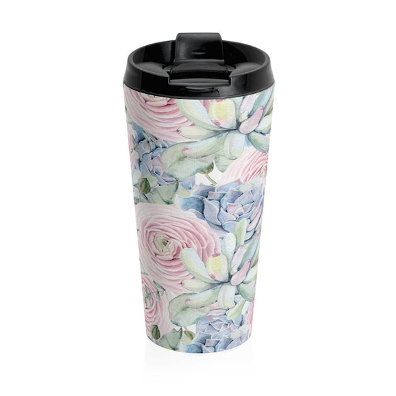 Travel Mug Succulents Stainless Steel Tumbler
