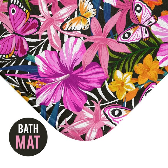 Tropical Flower Bright Color Bath Mat - Available in Two Sizes