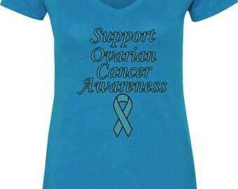 Ladies Support Ovarian Cancer Awareness V-Neck Shirt SOCA-N1540