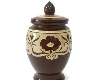 Petite Pottery Ginger Jar with Lid, Brown and Ivory, Bold Design