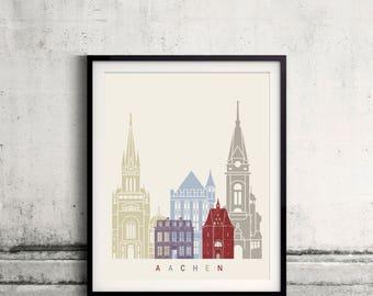 Aachen skyline poster - Fine Art Print Landmarks skyline Poster Gift Illustration Artistic Colorful Landmarks - SKU 2347