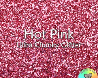 Hot Pink Chunky Glitter Fabric A4 Or A5 Sheets Faux Leather For Bows & Crafts