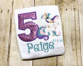 My little pony birthday shirt or bodysuit -princess celestria pony - pony birthday shirt - monogram pony - white pony