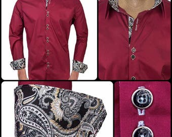 Maroon with Black Paisley Designer Dress Shirts - Made To Order in USA