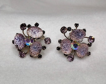 Vintage Clip On AB Textured Pink Stones Glass Carnival Glass Rhinestone Earrings Mid Century Jewelry Clip On Earrings Easter Gift for Her