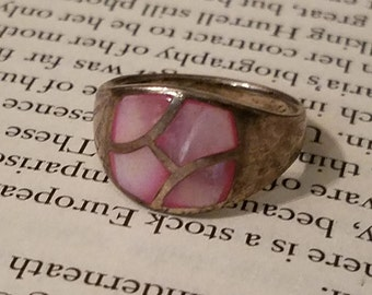 Sterling Silver ring with Pink Corral