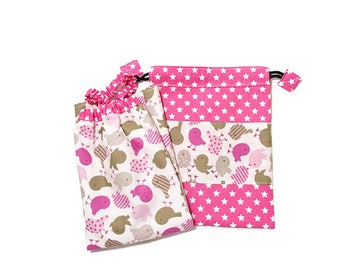 """Child's napkin and coordinated pouch """"Birds"""""""