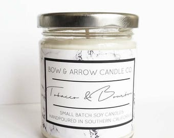 Natural Soy Candle Tobacco & Bourbon Scented | 7 oz Jar Candle | Tobacco Candle | Masculine Candle | Bourbon Candle | Man Candle | Gift Idea