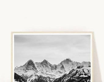 Mountain Photo, Mountain Art Print, Black and White Mountain, Landscape Print, Printable Wall Art,  Instant Download, Modern Wall Art
