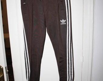 Adidas Originals 90's Vintage Womens Tracksuit Pants Chocolate Brown White