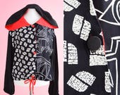 Reserved for whenmsam** Vintage 1990s Jacket // 90s Vintage Top, Black, White, Red, Geometric Windbreaker, Women Size Medium, Women Size Lar