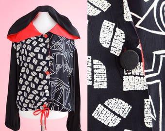 Vintage 1990s Jacket // 90s Vintage Top, Black, White, Red, Geometric Windbreaker, Women Size Medium, Women Size Large
