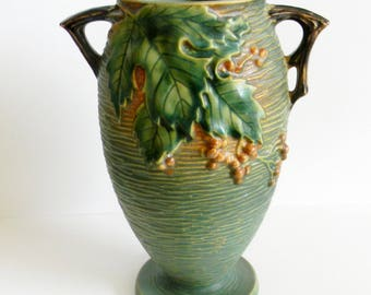 Roseville Bushberry tall vase with handles - marked on bottom