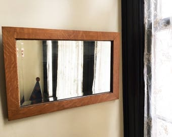 Vintage Mirror Wall Wood Beveled Hanging Bathroom Rustic Framed