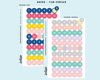 Monthly date stickers - 66 functional stickers, 1 CM date sticker circles for your planner or bullet journal, 31 dates of the month