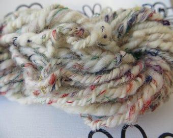 Wool handspun, Ecru wool embellished with multicolored silk threads