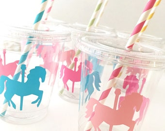 Carousel Horse Cups - Carousel Party - Carousel Horse Baby Shower - Carousel Birthday - Carousel Cups - Pastel Party Supplies - Circus Party