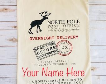 Santa Bag - Santa Pack- Santa Canvas Bag -  Christmas Sack- Santa Gift Bag - Personalozed Santa Bag- Fast Shipping - Same Day Shipping