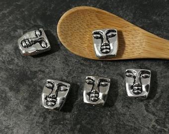 5 pcs beads face mask, Puck, boho, Mmetal beads silver - beads beads 12 x 10 mm