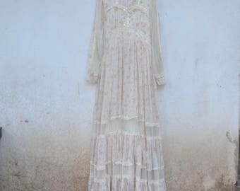 Vintage GUNNE SAX dress, Lace, frill, cotton, 70s, 80s, maxi dress, wedding,