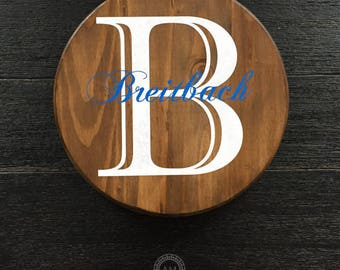 Round Wood Sign With Initial and Family Name - Custom - Personalized - Round Sign - Home Decor - Wedding Gift - Housewarming Gift