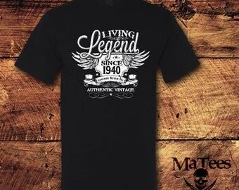 78th Birthday, 78 Birthday, 78th Birthday Shirt, 78 Birthday Shirt, 1940, Living Legend, Birthday, Birthday Gift, Birthday Shirt, T-Shirt