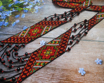 Gerdan Ukrainian folk necklace Ukrainian ethnic necklace Ukrainian gift Long ethnic necklace Ukrainian embroidery necklace Ukrainian jewelry