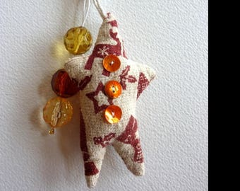 Bag charm or Keychain in fabric and beads