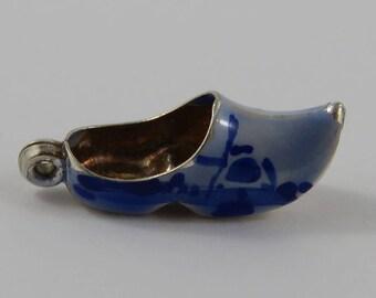 Enamel Dutch Clog Silver Vintage Charm For Bracelet