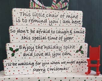 Two (2) Christmas from Heaven- Tabletop Memorial Signs- Christmas Rocking Chair Sign- Honor your loved one at Christmas, Christmas in Heaven