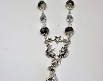 Moon gazing hare pendant-crescent moons and stars-moon beads