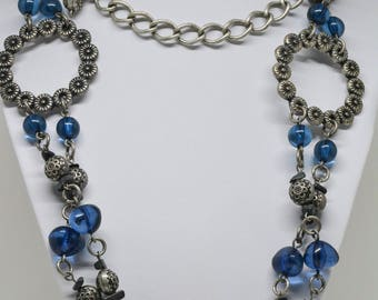 Large Silver tone beaded necklace