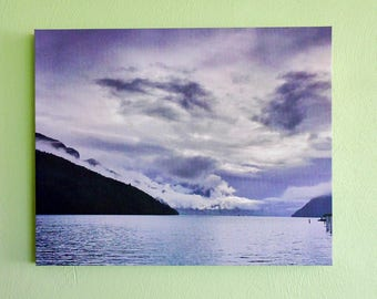 Stretched canvas - stormy lake