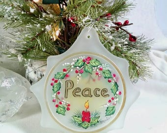 Peace Ornament, Red Candle Ornament, Holly and Berries, Flat Glass Ornament, USA Made, Suncatcher