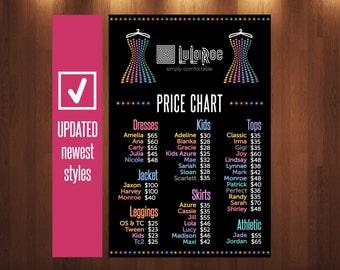 LLR Price Chart Newest Styles * LLR Price Poster * 18x24, 12x18, 8.5x11 * Price List * Price Banner * Price Sheet * Black * Stars-Dress